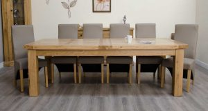 Homestyle Deluxe Solid Oak 2.4m Twin Leaf Extending Dining Table