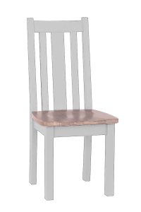 Besp-Oak Vancouver Chalked Oak & Light Grey Vertical Slats Dining Chair with Timber Seat (Pair) | Fully Assembled