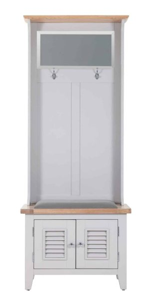 Besp-Oak Vancouver Chalked Oak & Light Grey Hall Storage with Mirror & 2 Louvered Doors with Plush Slate Fabric Seat   Fully Assembled