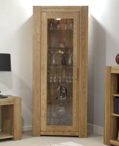 Homestyle Trend Oak 1 Door Display Cabinet | Fully Assembled