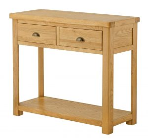 Classic Portland Oak 2 Drawer Console Table