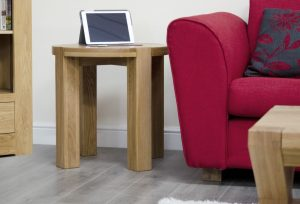 Homestyle Trend Solid Oak Round Lamp Table | Fully Assembled