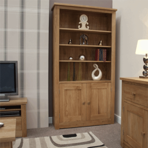 Homestyle Torino Solid Oak 2 Door Bookcase with 4 Adjustable Shelves | Fully Assembled