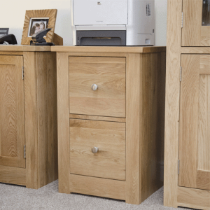 Homestyle Torino Solid Oak 2 Drawer Filing Cabinet | Fully Assembled
