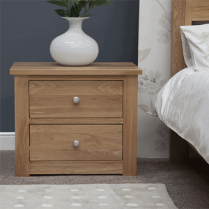 Homestyle Torino Solid Oak 2 Drawer Wide Bedside Cabinet | Fully Assembled