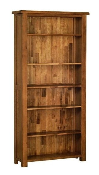 Devonshire Rustic Oak 6′ Bookcase with 5 Shelves| Fully Assembled