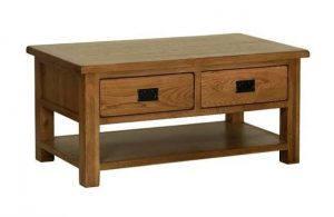Devonshire Rustic Oak Coffee Table with 2 Drawers and Shelf | Fully Assembled