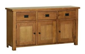 Devonshire Rustic Oak Large Sideboard 3 Drawers & 3 Doors| Fully Assembled