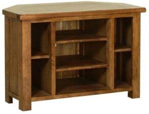 Devonshire Rustic Oak Corner TV Cabinet with Shelves   Fully Assembled