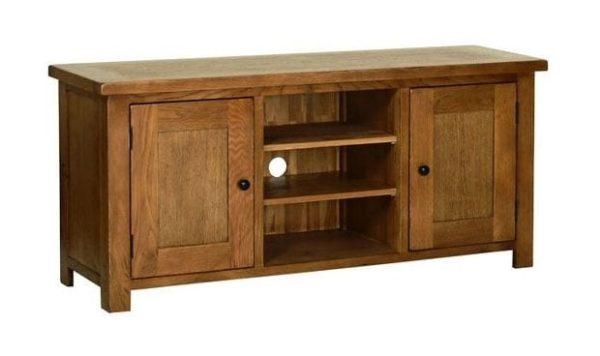 Devonshire Rustic Oak Large TV Unit WIth Door & Shelves   Fully Assembled