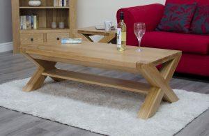 Homestyle Trend Solid Oak X Leg 4′ x 2′ Coffee Table