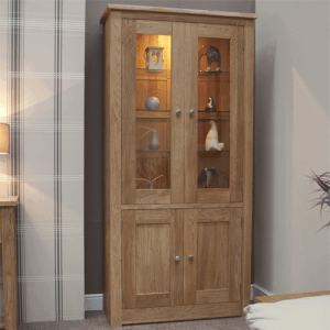 Homestyle Torino Solid Oak 4 Door Glazed Library Unit | Fully Assembled