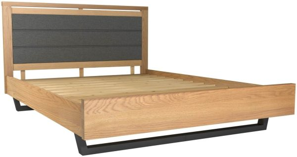 Classic Fusion Industrial Oak 4'6″ Double Upholstered Bed