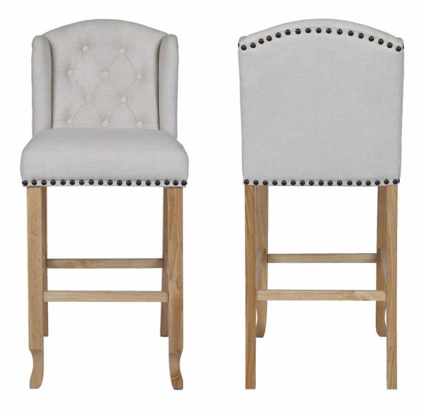 Besp-Oak Beige Bar Stools with Studded Detail (Pack of 2)