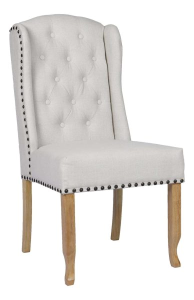 Besp-Oak Beige Dining Chair with Studded Detail (Pack of 2)