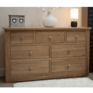 Homestyle Torino Solid Oak 7 Drawer Chest | Fully Assembled