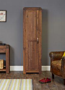Baumhaus Shiro Solid Walnut Tall Shoe Cupboard | Fully Assembled