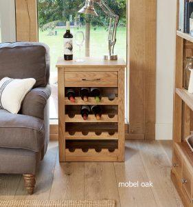 Baumhaus Mobel Oak 16 Bottle Wine Rack Lamp Table | Fully Assembled