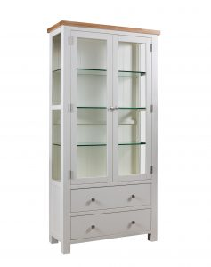 Devonshire Dorset Painted Ivory Display Cabinet with Glass Doors | Fully Assembled