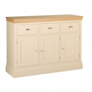Lundy Painted Ivory With Oak Top  3 Drawer Sideboard | Fully Assembled