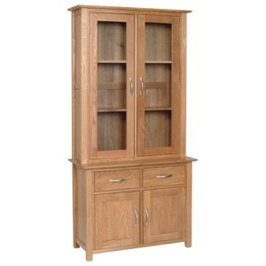 Devonshire New Oak Glass Dresser (Complete Unit)