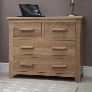 Homestyle Opus Solid Oak 2 Over 2 Drawer Chest | Fully Assembled