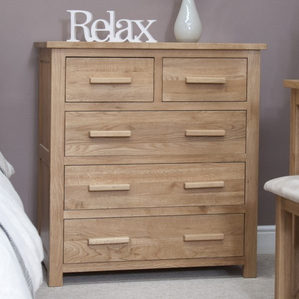 Homestyle Opus Solid Oak  2 Over 3 Drawer Chest | Fully Assembled