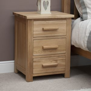 Homestyle Opus Solid Oak 3 Drawer Bedside Cabinet | Fully Assembled