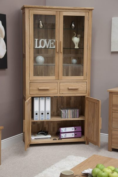 Homestyle Opus Solid Oak 4 Door 2 Drawer Library/Bookcase Unit   Fully Assembled