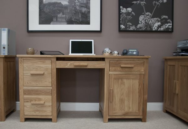 Homestyle Opus Solid Oak Large Computer Desk | Fully Assembled