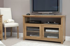 Homestyle Opus Solid Oak 2 Door Entertainment/TV Unit | Fully Assembled