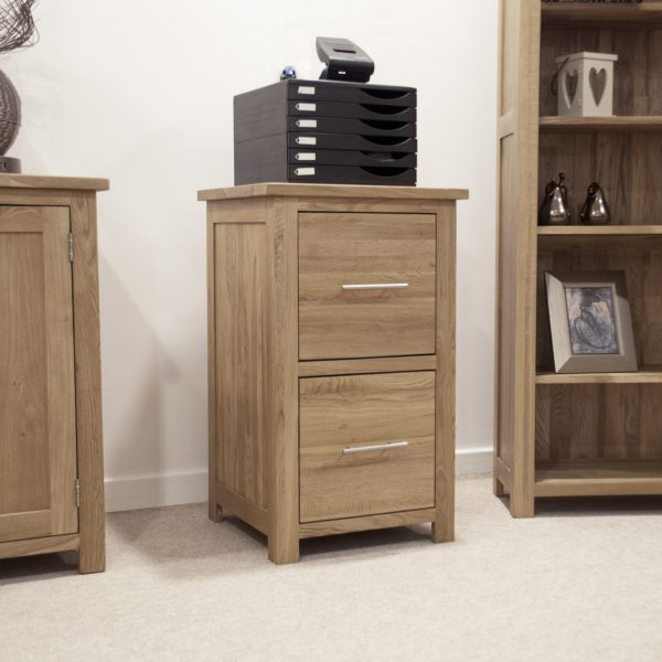 Homestyle Opus Solid Oak 2 Drawer Filing Cabinet | Fully Assembled