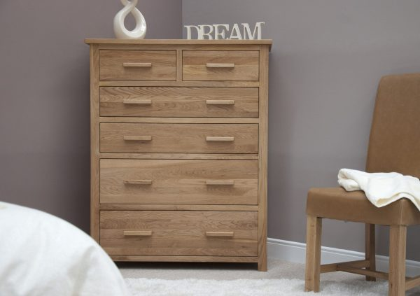 Homestyle Opus Solid Oak Jumbo 2 over 4 Drawer Chest | Fully Assembled