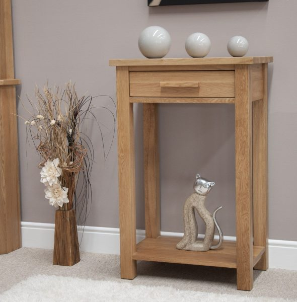 Homestyle Opus Solid Oak 1 Drawer Hall/Console Table with shelf | Fully Assembled