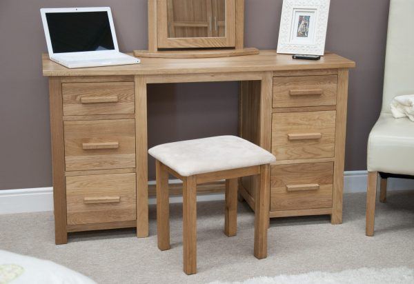 Homestyle Opus Solid Oak 6 Drawer Twin Pedestal Dressing Table and Stool | Fully Assembled