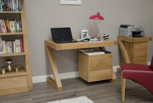 Homestyle Z Solid Oak Small Computer Desk | Fully Assembled