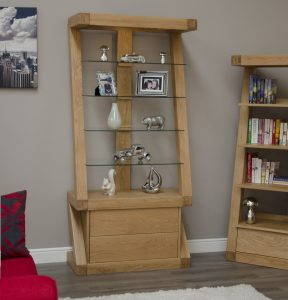 Homestyle Z Solid Oak Glass Display Unit with 2 Drawers 4 Shelves | Fully Assembled