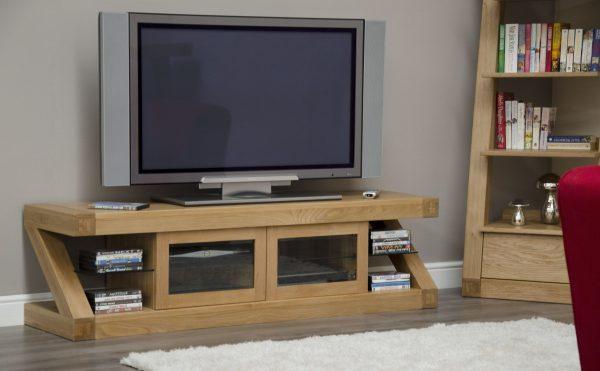 Homestyle Z Solid Oak Glazed Plasma TV Unit with 2 Doors   Fully Assembled