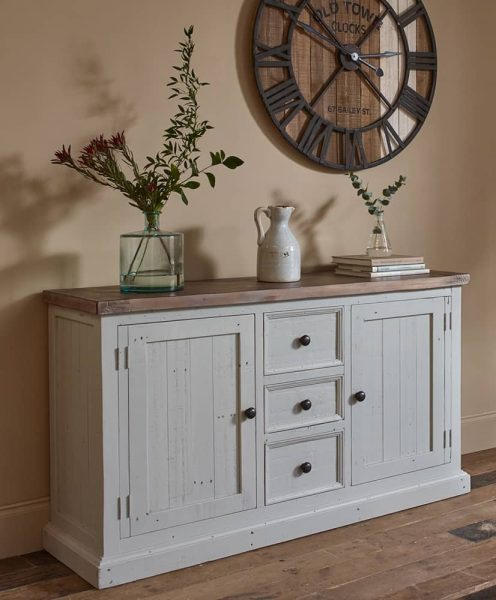 The Hamptons Wide Sideboard  with 2 Doors & 3 Drawers