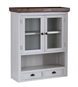 The Hamptons Hutch with 2 Drawers and 2 Glass Doors (Top Only) | Fully Assembled