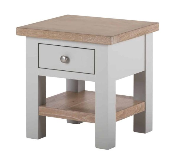 Besp-Oak Vancouver Compact Grey Side Table with Drawer | Fully Assembled