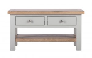 Besp-Oak Vancouver Compact Grey Coffee Table with 2 Drawers | Fully Assembled