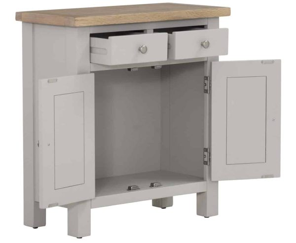 Besp-Oak Vancouver Compact Grey Extra Small Sideboard with 2 Drawers 2 Doors | Fully Assembled