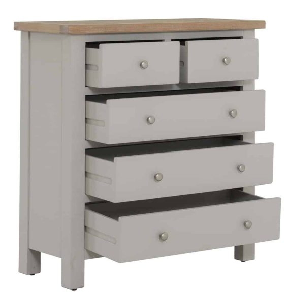 Besp-Oak Vancouver Compact Grey 2 over 3 Drawer Chest   Fully Assembled
