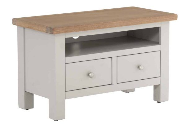 Besp-Oak Vancouver Compact Grey TV Unit with 2 Drawer   Fully Assembled