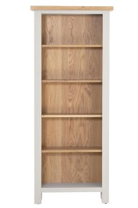 Besp-Oak Vancouver Compact Grey Tall Narrow Bookcase with 5 Adjustable Shelves | Fully Assembled