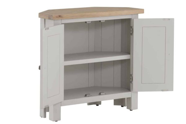 Besp-Oak Vancouver Compact Grey Corner Cupboard with 2 Doors | Fully Assembled