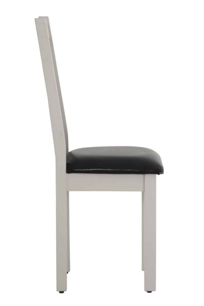 Besp-Oak Vancouver Compact Grey Dining Chair with leather seat ( Pair ) | Fully Assembled