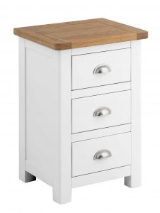 Classic Portland Painted White 3 Drawer Bedside Cabinet