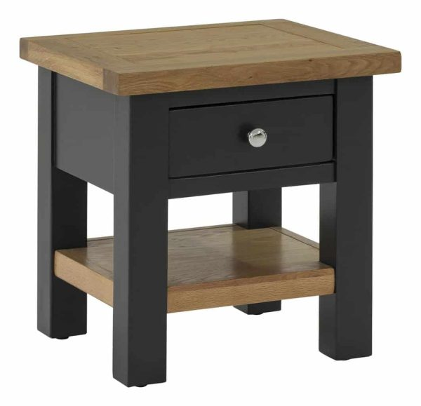 Besp-Oak Vancouver Compact Black Grey Side Table with 1 Drawer | Fully Assembled